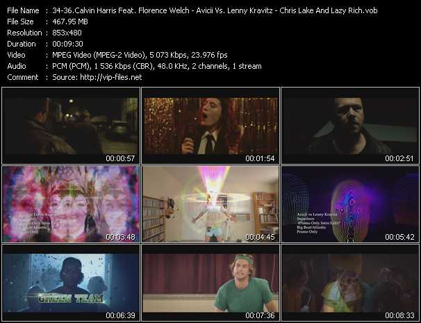 Calvin Harris Feat. Florence Welch - Avicii Vs. Lenny Kravitz - Chris Lake And Lazy Rich video screenshot