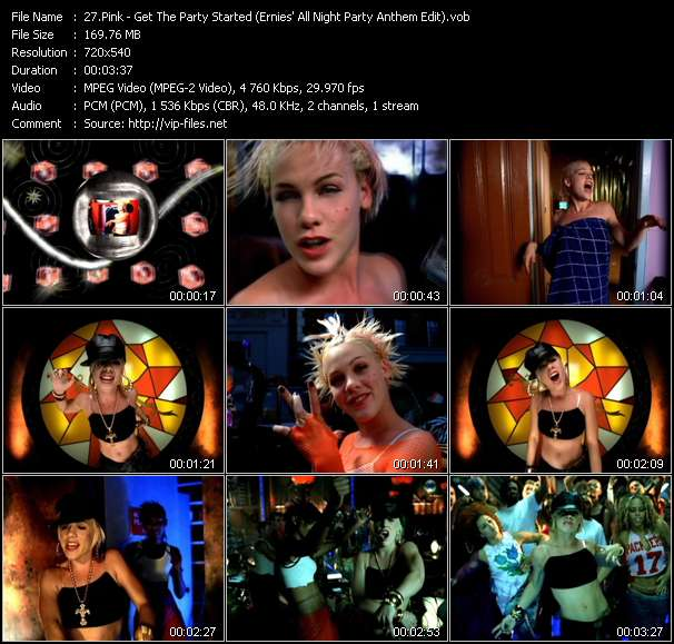 video Get The Party Started (Ernies' All Night Party Anthem Edit) screen