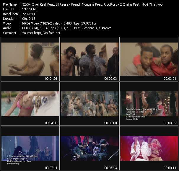 Chief Keef Feat. Lil' Reese - French Montana Feat. Rick Ross, Drake And Lil' Wayne - 2 Chainz Feat. Nicki Minaj video screenshot