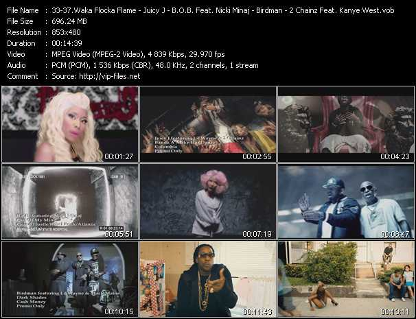 Waka Flocka Flame Feat. Nicki Minaj, Tyga, And Flo Rida - Juicy J Feat. Lil' Wayne And 2 Chainz - B.O.B. Feat. Nicki Minaj - Birdman Feat. Lil' Wayne And Mack Maine - 2 Chainz Feat. Kanye West video screenshot