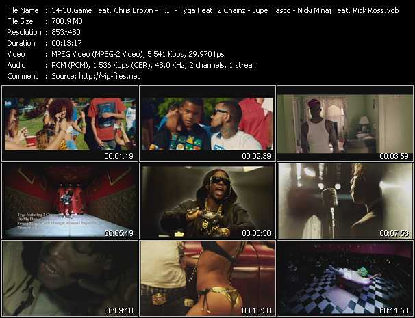 Game Feat. Chris Brown, Tyga, Lil' Wayne And Wiz Khalifa - T.I. - Tyga Feat. 2 Chainz - Lupe Fiasco - Nicki Minaj Feat. Rick Ross And Cam'ron video screenshot